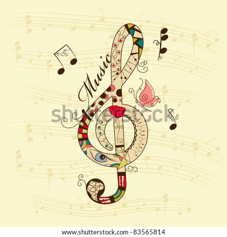 Vector musical background with treble clef - stock vector