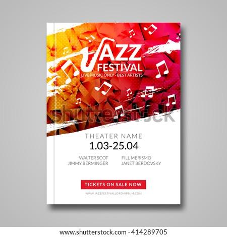 Vector musical flyer Jazz festival. Music background festival brochure flyer template. - stock vector