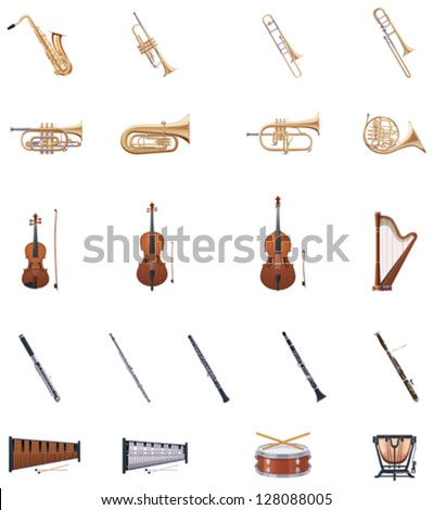 Vector musical instruments of the Orchestra icon set. Includes brass, wind, stringed instruments and drums - stock vector