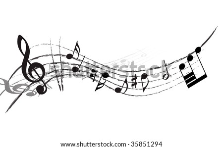 Vector musical notes staff background for design use - stock vector
