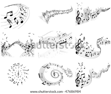 Vector musical notes staff backgrounds set for design use - stock vector
