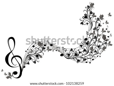 Vector musical notes with butterflies - stock vector