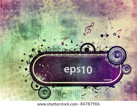 vector musical theme illustration with grunge banner design, - stock vector