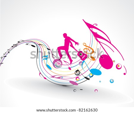 vector musician playing guitar with music note theme. - stock vector