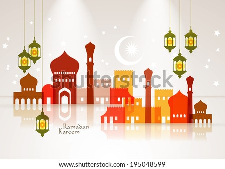 Vector Muslim Mosque and Oil Lamp Graphics. Translation: Ramadan Kareem - May Generosity Bless You During The Holy Month. - stock vector