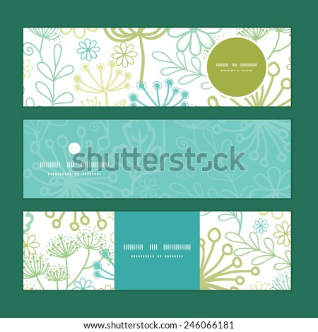 Vector mysterious green garden horizontal banners set pattern background - stock vector