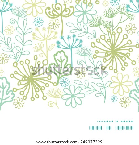 Vector mysterious green garden horizontal frame seamless pattern background - stock vector