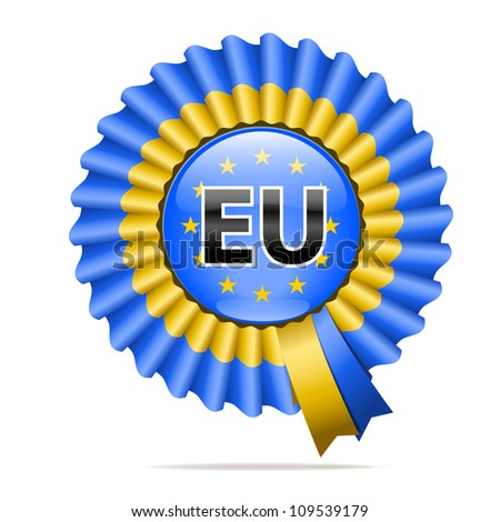 Vector national flag badge, The European Union, isolated on white background