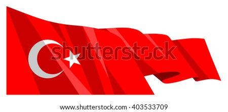 Vector national waving flag ribbon Turkey