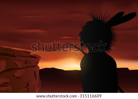 Vector Native Indian Silhouette on Sunset Background, Eps10 Vector, Gradient Mesh and Transparency Used, Raster Version Available - stock vector