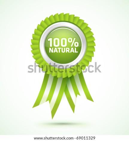 Vector 100% natural award - stock vector