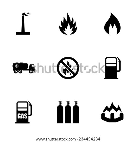 Vector Natural Gas Icon Set On Stock Vector 234454234 Shutterstock