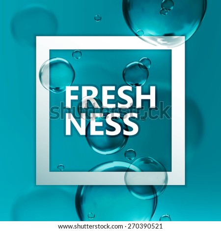 vector natural illustration of transparent fresh shiny water bubbles. deep-water background with square frame. - stock vector