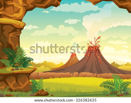Vector natural illustration - prehistoric landscape with cave, smoky volcanoes and green grass on a cloudy sky. - stock vector