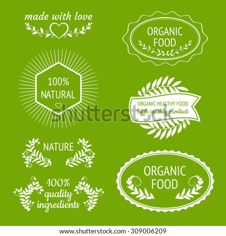 Vector natural, organic, bio, healthy food, quality ingredients labels and shapes. Made with love. Design elements set.