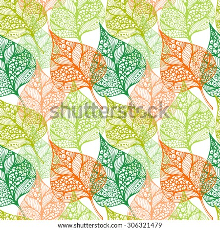 Vector natural seamless pattern with autumn decorative leaves in doodle style