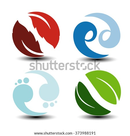 Vector natural symbols - fire, air, water, earth - nature circular icons with flame, bubble air, wave water and leaf. Elements of ecology sources, alternative energy.  - stock vector