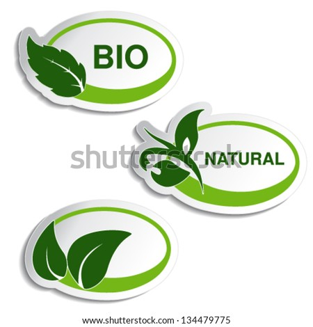 Vector natural symbols - stickers with leaf, plant - stock vector