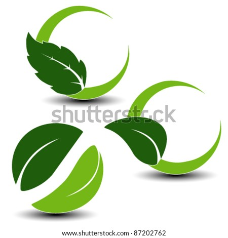 Vector natural symbols with leaf - set 1 - stock vector