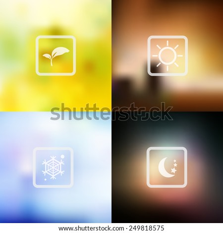 vector nature blur background, weather icon - stock vector
