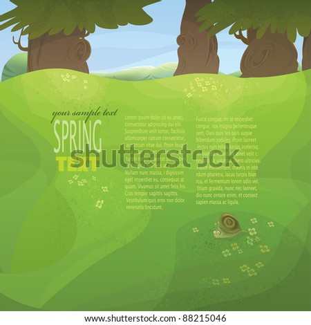 Vector nature series with copyspace. Spring or summer meadow with flowers, trees, funny snail and mountains in the background - stock vector