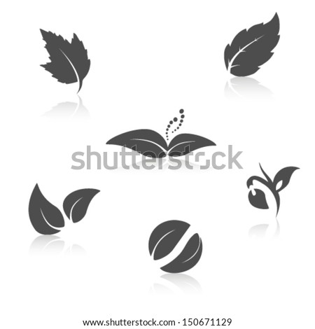 Vector nature symbols - leaf icon, silhouette with shadow  - stock vector