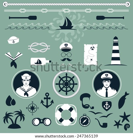 vector nautical icons, captain and sailor boat, sea set - stock vector