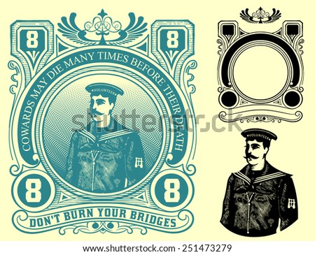 Vector. Nautical label - stock vector