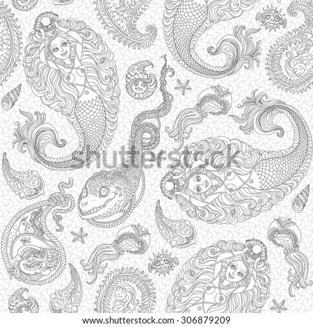 Vector nautical seamless paisley pattern from silver grey mermaid, pearl, fish, anchor, sea shell, morey and pirate with parrot on the hat on a white background . Coloring book illustration - stock vector