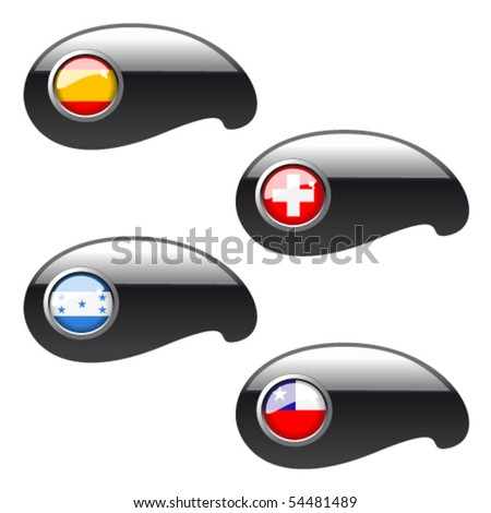 Vector navigation buttons with flags - set 8 - stock vector