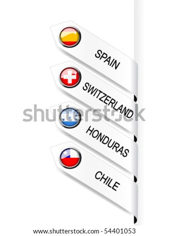 Vector navigation template with flags - set 8 - stock vector