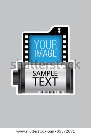 Vector negative photo film roll - stock vector