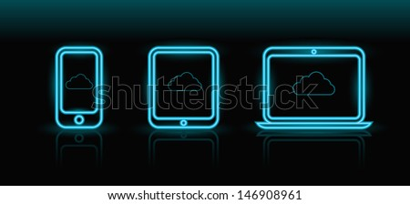 Vector neon blue technology icons on black background, eps8  - stock vector