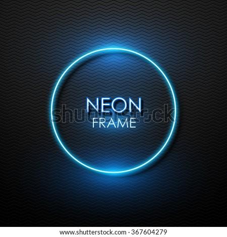 Vector neon frame. - stock vector