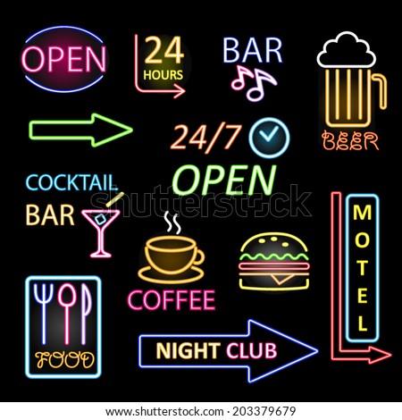 vector neon icon set - stock vector