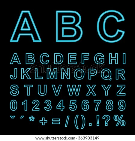 Vector neon light alphabet. Type letters, numbers and punctuation marks.Font letters on black background. Eps 10.