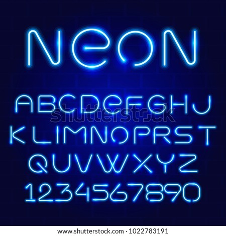 Vector neon vibrant retro font. Alphabet and numbers. Vector illustration. EPS10