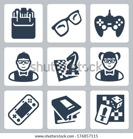 Vector nerd icons set - stock vector