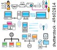 Vector Networking, Connectivity & Technology Design Elements Set - stock vector