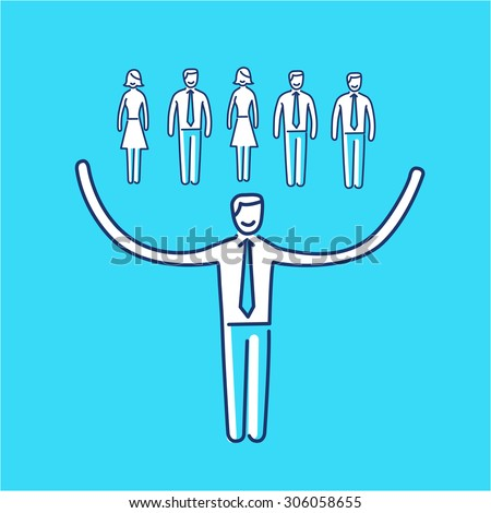 Vector networking skills icon of businessman taking care about his team | modern flat design soft skills linear illustration and infographic on blue background - stock vector