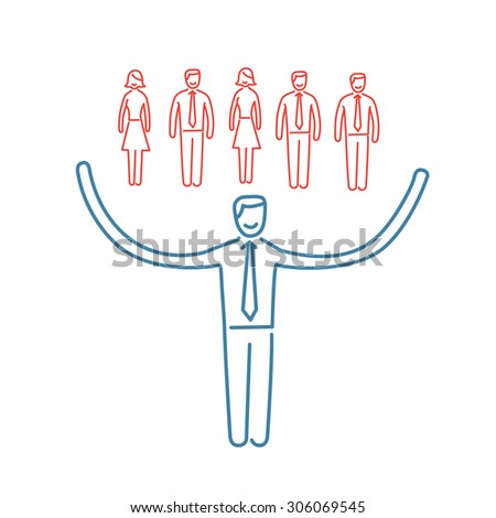 Vector networking skills icon of businessman taking care about his team | modern flat design soft skills linear illustration and infographic red and blue on white background - stock vector