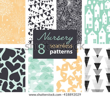 Vector Neutral Nursery Decor Repeat Patterns 8 Set With Houses, Bunting, Flowers, Hearts, Clouds and Stars. Perfect for matching kids room wallpaper, bedding, furniture.