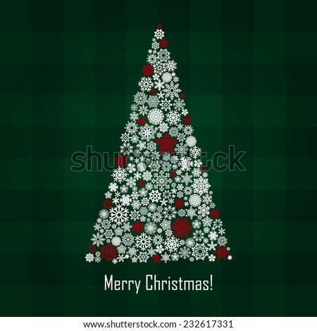 vector new year and christmas greeting card - stock vector