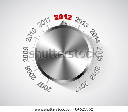 Vector 2012 New Year card with chrome knob - stock vector