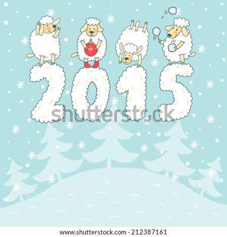 "Vector new year card with four cute sheep, snowflakes and number ""2015"". Winter holiday background with cute hand drawing characters. - stock vector"