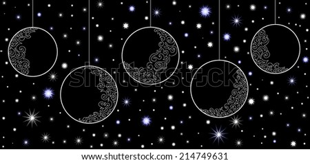 Vector New Year composition with Christmas balls - stock vector