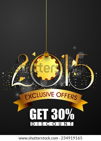Vector New year 2015 flyer for discount sale and offers with stylish text and golden ribbon. - stock vector