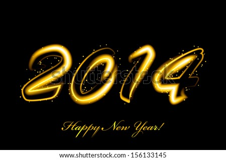 Vector 2014 new year glowing - stock vector
