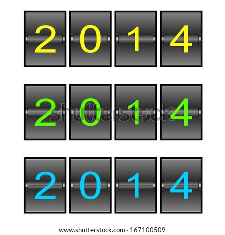 Vector new year odometer isolated on white - stock vector