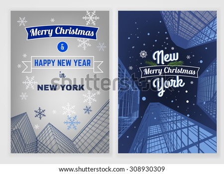 Vector New Year postcard template. Bright modern Christmas backgrounds for poster, print, flyer, book, booklet, brochure and leaflet design. Editable graphic image in blue and white colors - stock vector